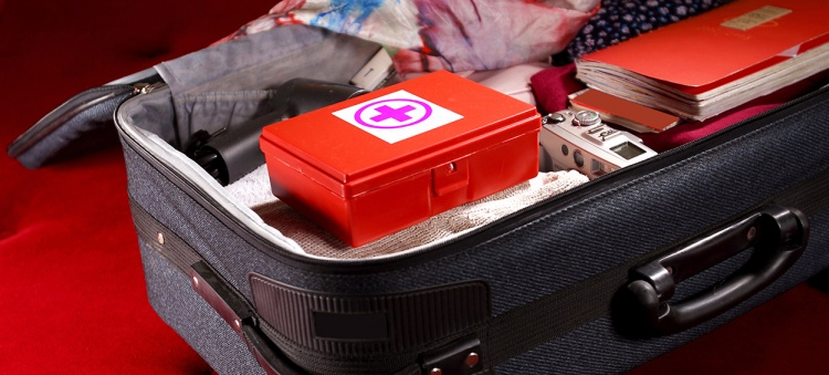 First aid kit in a suitcase